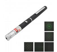 Зеленая лазерная указка 50 мВт с 5 насадками