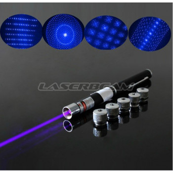 Фиолетовая лазерная указка 100 мВт + 5 насадок