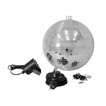 Зеркальный шар 30 см с приводом и LED прожектором